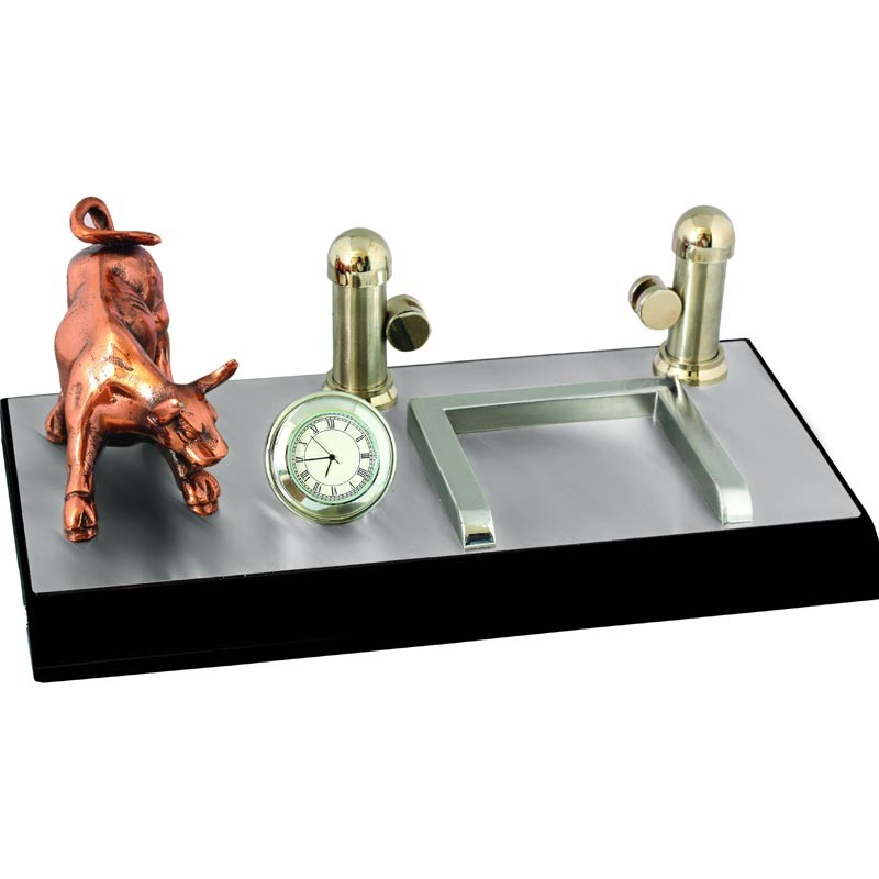 3 in 1- Clock, Bull, Memo Pad & Name Card Holder