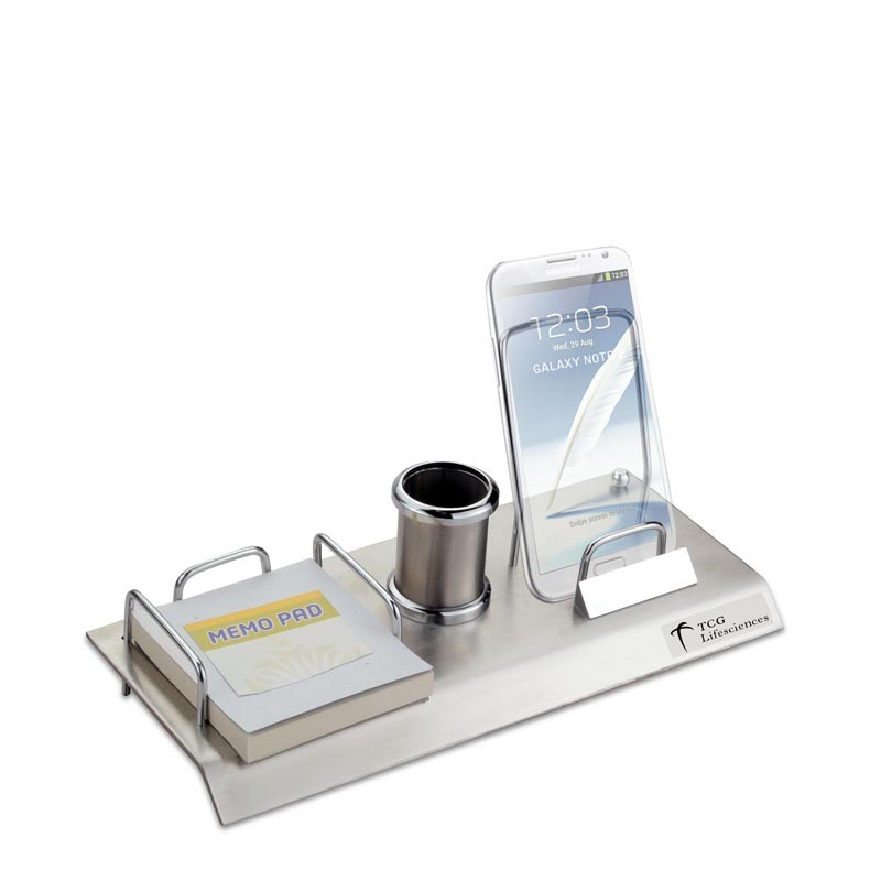 3 in 1 Name Card Holder & Pen Stand Stainless Steel