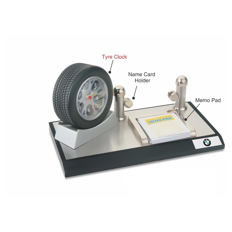 4 in 1 Tyre, Clock Memo pad & memo Card Holder