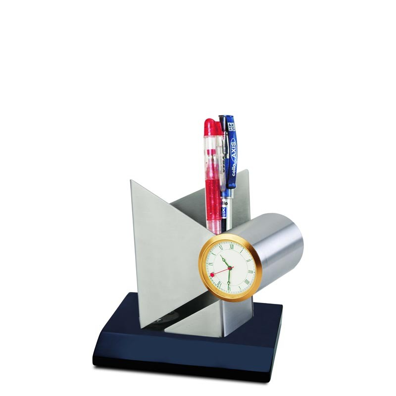 Desktop Pen Stand with Clock